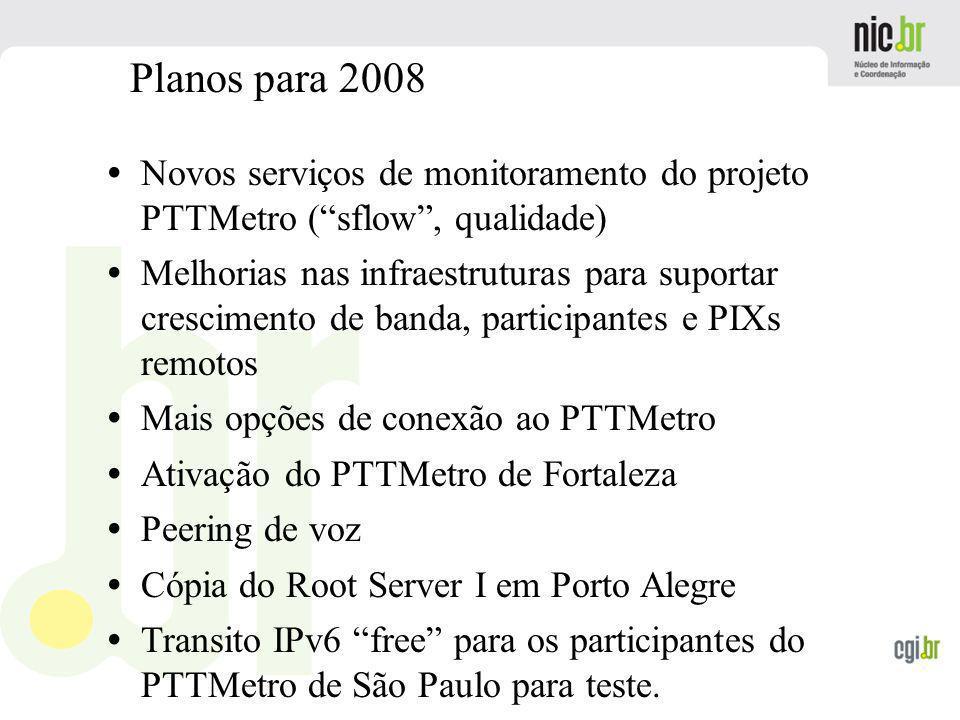 www.cgi.br Novos serviços de monitoramento do projeto PTTMetro (sflow, qualidade) Melhorias nas infraestruturas para suportar crescimento de banda, pa