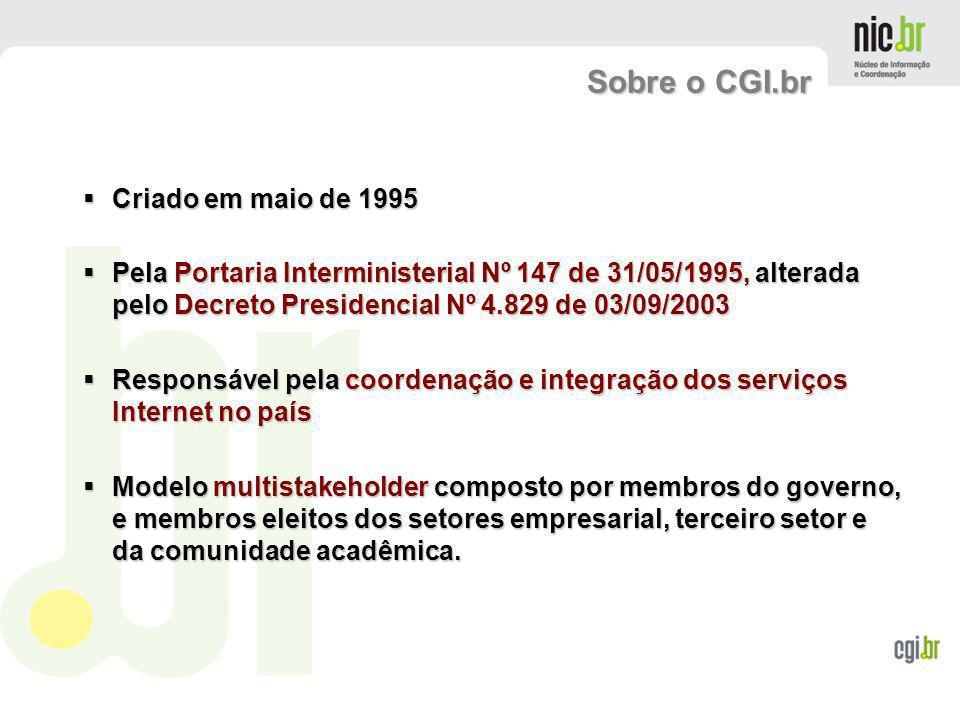 www.cgi.br Criado em maio de 1995 Criado em maio de 1995 Pela Portaria Interministerial Nº 147 de 31/05/1995, alterada pelo Decreto Presidencial Nº 4.