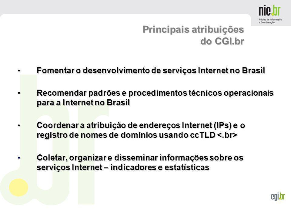 www.cgi.br Fomentar o desenvolvimento de serviços Internet no Brasil Fomentar o desenvolvimento de serviços Internet no Brasil Recomendar padrões e pr