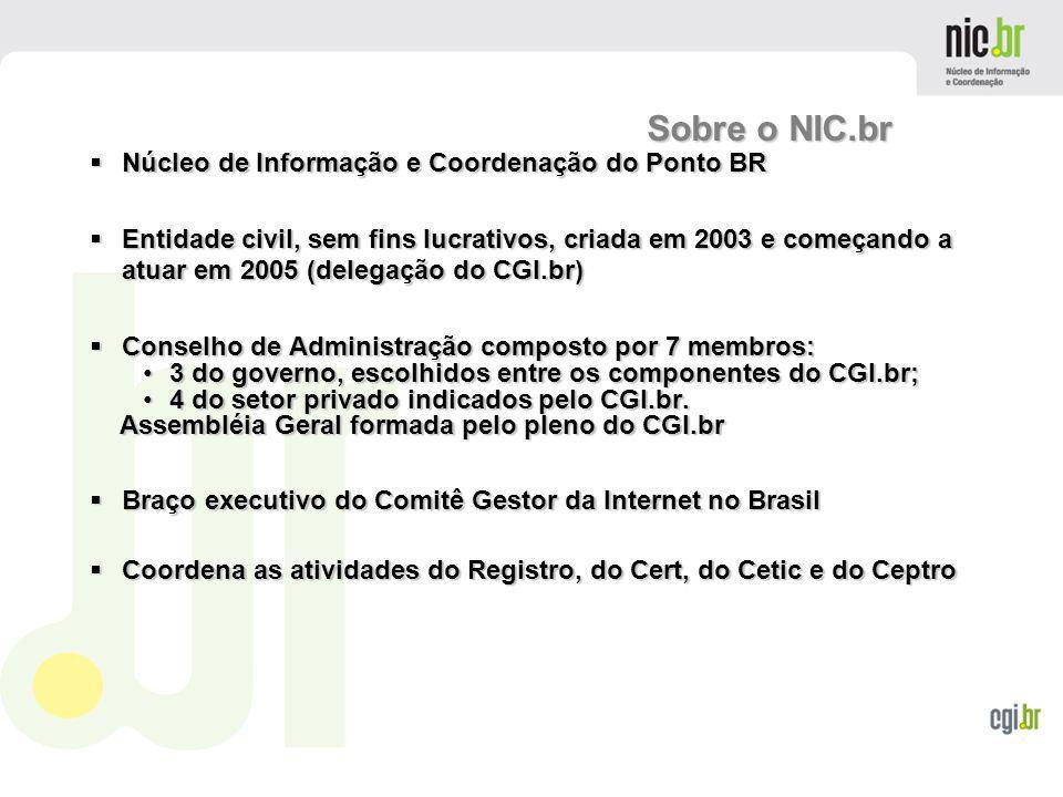 www.cgi.br Núcleo de Informação e Coordenação do Ponto BR Núcleo de Informação e Coordenação do Ponto BR Entidade civil, sem fins lucrativos, criada e