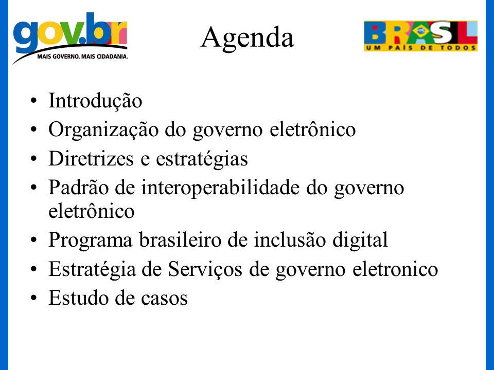 Agenda Introdução Organização do governo eletrônico Diretrizes e estratégias Padrão de interoperabilidade do governo eletrônico Programa brasileiro de