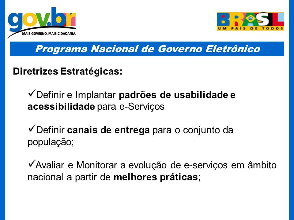 Programa Nacional de Governo Eletrônico Diretrizes Estratégicas: Definir e Implantar padrões de usabilidade e acessibilidade para e-Serviços Definir c
