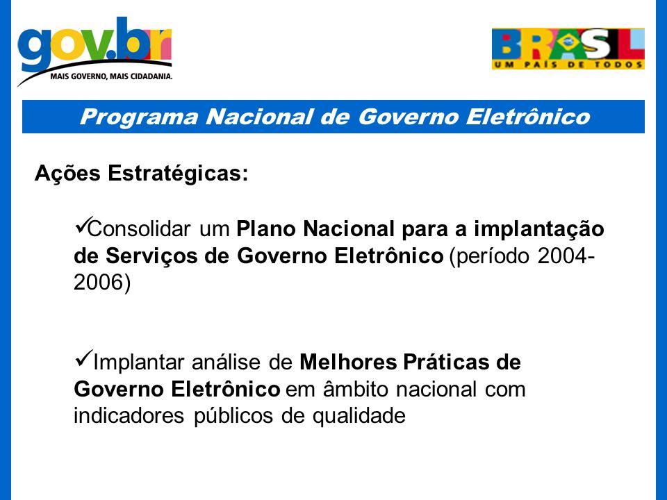 Programa Nacional de Governo Eletrônico Ações Estratégicas: Consolidar um Plano Nacional para a implantação de Serviços de Governo Eletrônico (período