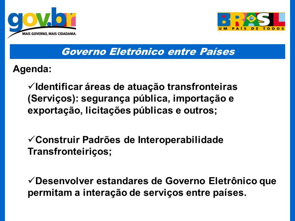 Governo Eletrônico entre Países Agenda: Identificar áreas de atuação transfronteiras (Serviços): segurança pública, importação e exportação, licitaçõe