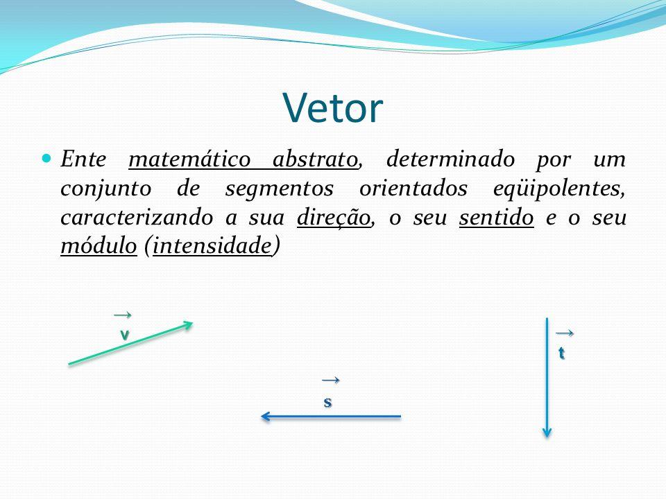 Noções Geométricas de Vetores Segmento Orientado: segmento de reta para o qual é escolhido em sentido de orientação.