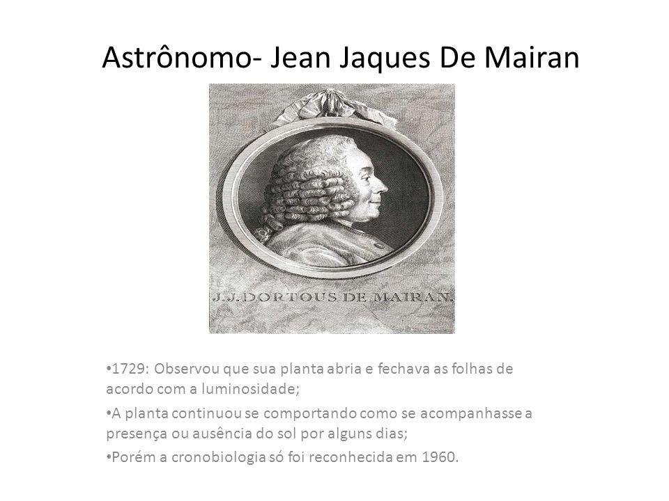 Astrônomo- Jean Jaques De Mairan 1729: Observou que sua planta abria e fechava as folhas de acordo com a luminosidade; A planta continuou se comportan