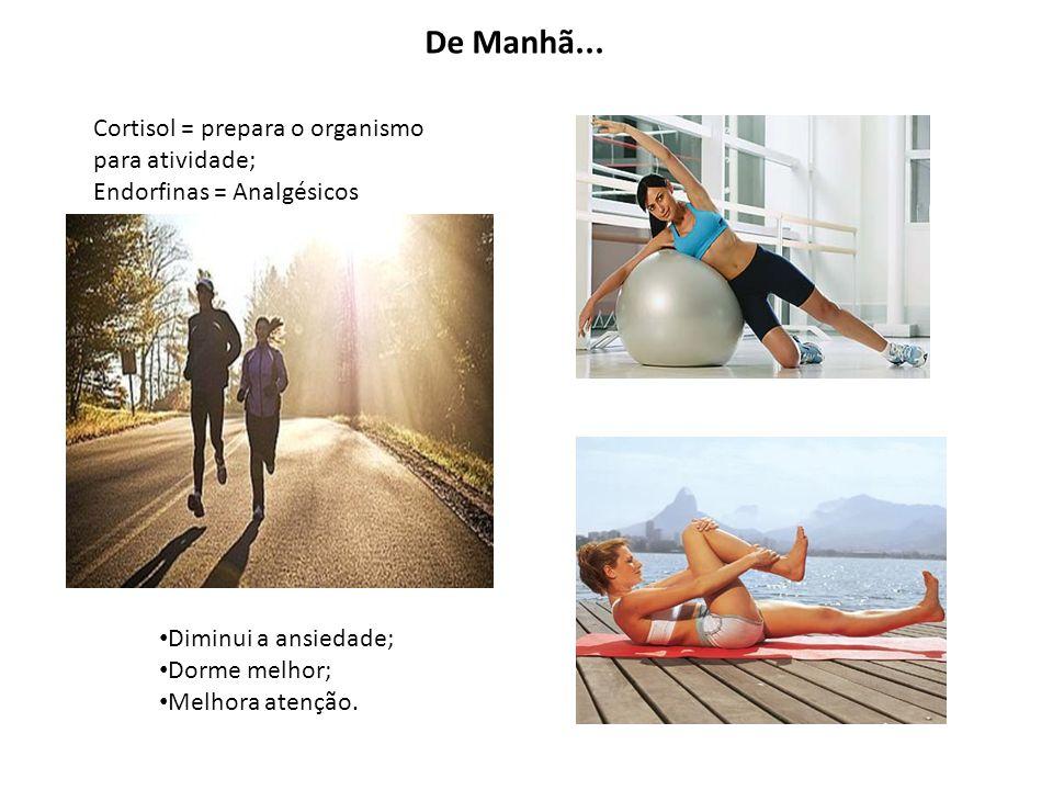 Cortisol = prepara o organismo para atividade; Endorfinas = Analgésicos Diminui a ansiedade; Dorme melhor; Melhora atenção. De Manhã...