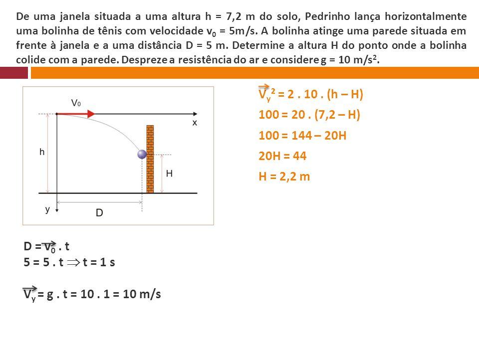 De uma janela situada a uma altura h = 7,2 m do solo, Pedrinho lança horizontalmente uma bolinha de tênis com velocidade v 0 = 5m/s. A bolinha atinge