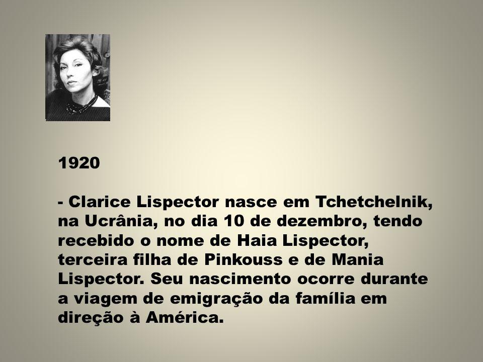 1920 - Clarice Lispector nasce em Tchetchelnik, na Ucrânia, no dia 10 de dezembro, tendo recebido o nome de Haia Lispector, terceira filha de Pinkouss