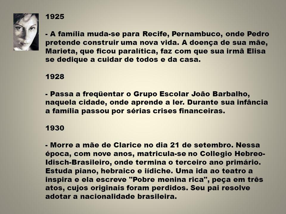 1925 - A família muda-se para Recife, Pernambuco, onde Pedro pretende construir uma nova vida. A doença de sua mãe, Marieta, que ficou paralítica, faz