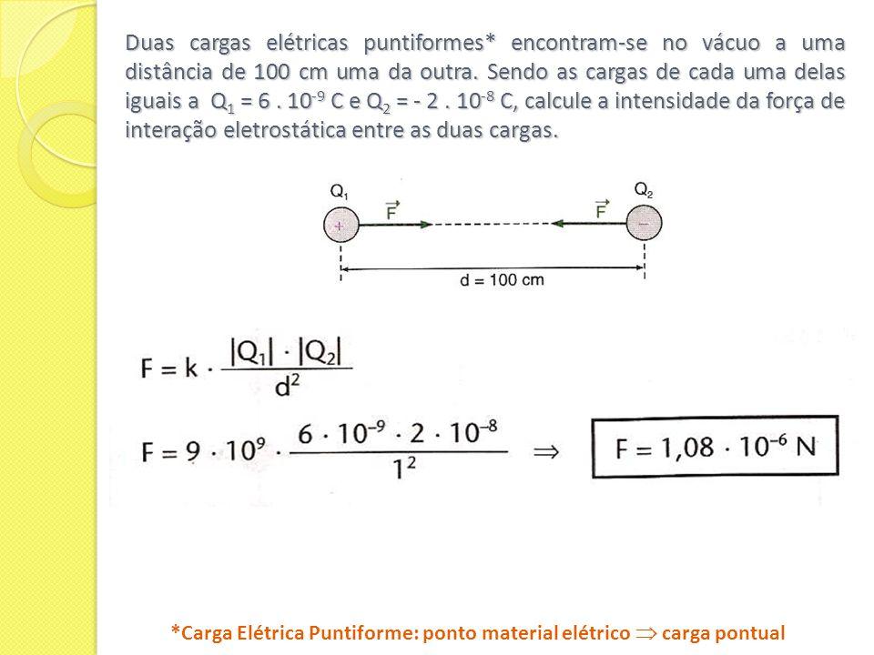 Duas cargas elétricas puntiformes* encontram-se no vácuo a uma distância de 100 cm uma da outra. Sendo as cargas de cada uma delas iguais a Q 1 = 6. 1