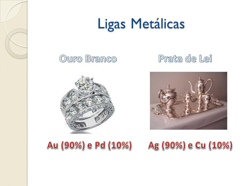 Propriedade dos Metais Brilho característico; Alta condutividade térmica e elétrica (elétrons livres); Altos pontos de fusão e de ebulição; Maleabilidade (lâminas); Ductibilidade (fios); Resistência à tração (cabos de aço)