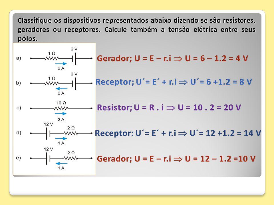 Classifique os dispositivos representados abaixo dizendo se são resistores, geradores ou receptores. Calcule também a tensão elétrica entre seus pólos