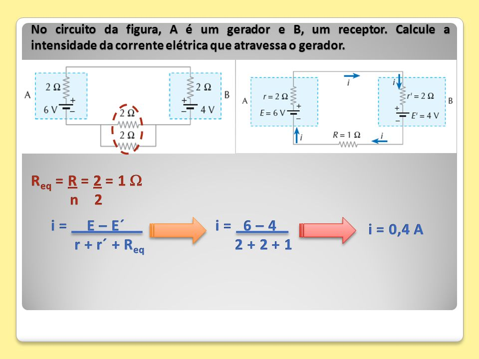 No circuito da figura, A é um gerador e B, um receptor. Calcule a intensidade da corrente elétrica que atravessa o gerador.