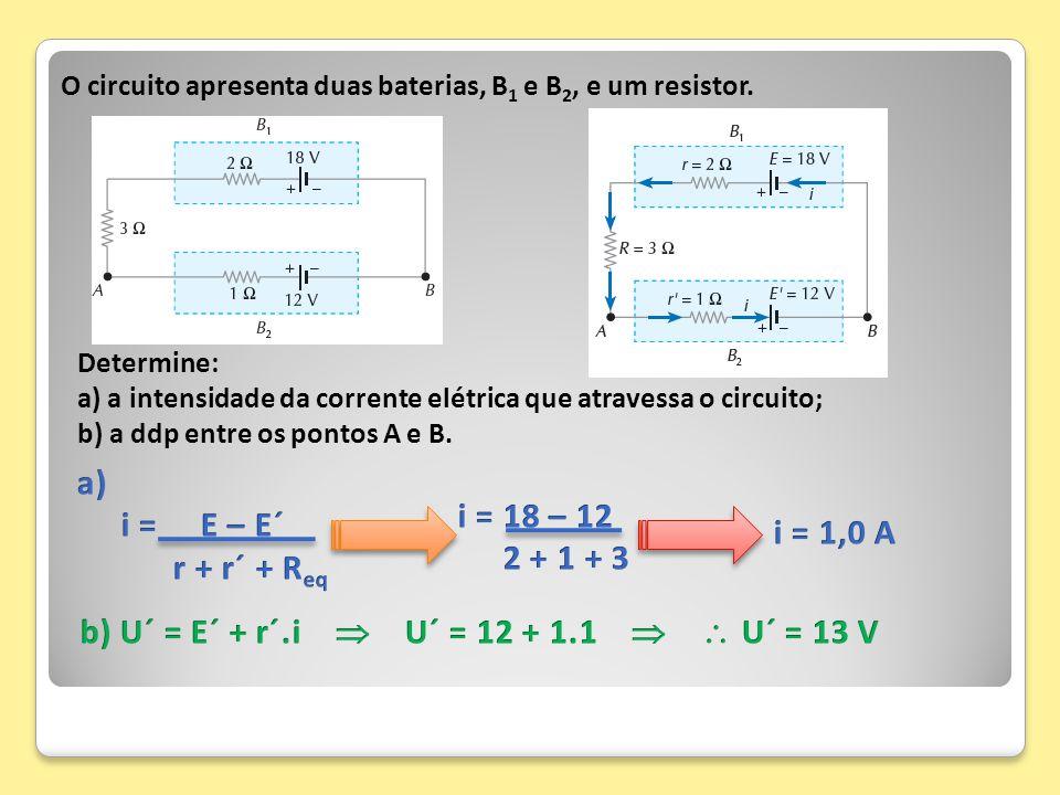 O circuito apresenta duas baterias, B 1 e B 2, e um resistor. Determine: a) a intensidade da corrente elétrica que atravessa o circuito; b) a ddp entr