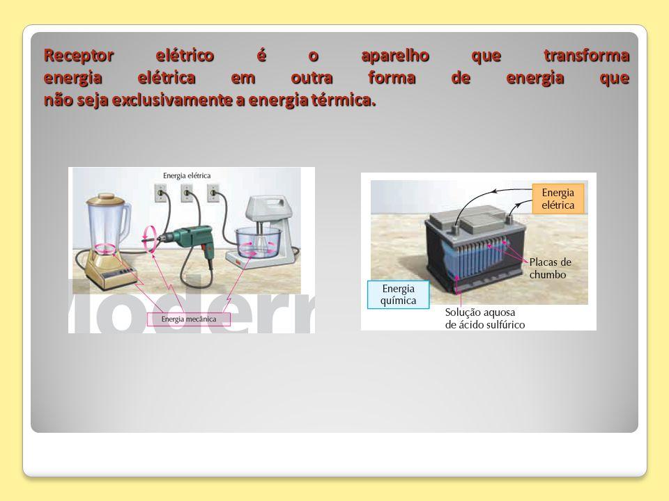 Receptor elétrico é o aparelho que transforma energia elétrica em outra forma de energia que não seja exclusivamente a energia térmica.