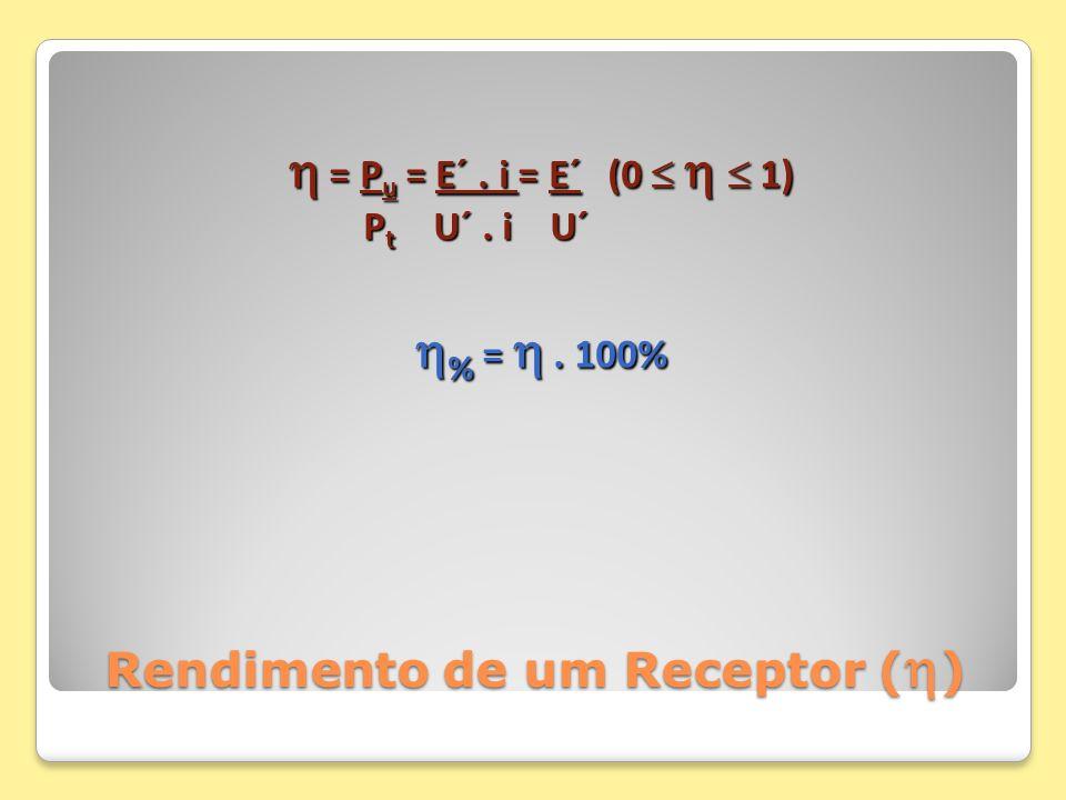 Rendimento de um Receptor ( ) = P u = E´. i = E´(0 1) = P u = E´. i = E´(0 1) P t U´. i U´ P t U´. i U´ % =. 100% % =. 100%