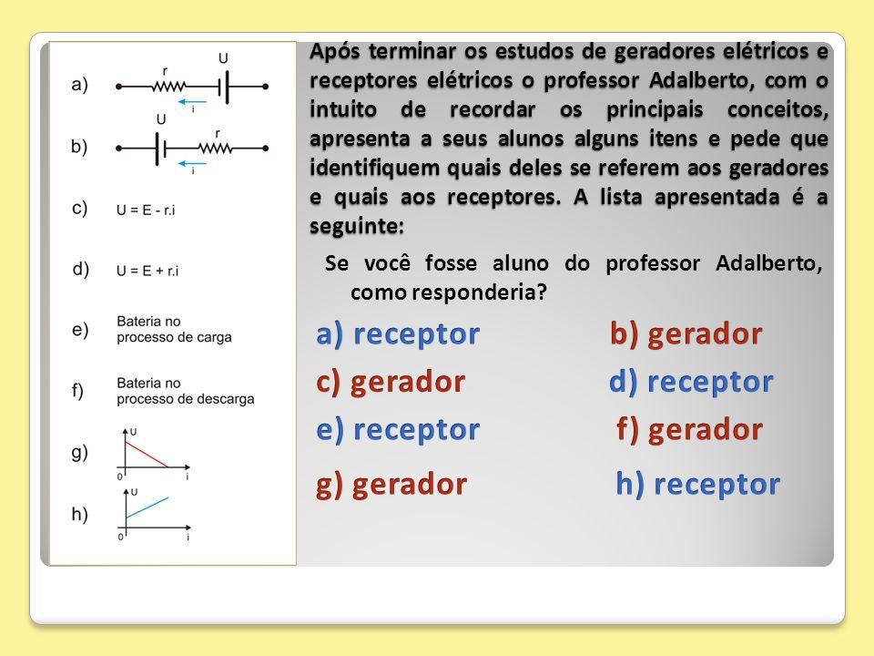 Após terminar os estudos de geradores elétricos e receptores elétricos o professor Adalberto, com o intuito de recordar os principais conceitos, apres
