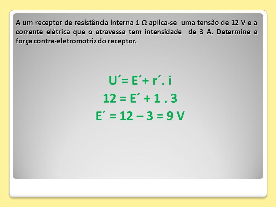 A um receptor de resistência interna 1 Ω aplica-se uma tensão de 12 V e a corrente elétrica que o atravessa tem intensidade de 3 A. Determine a força