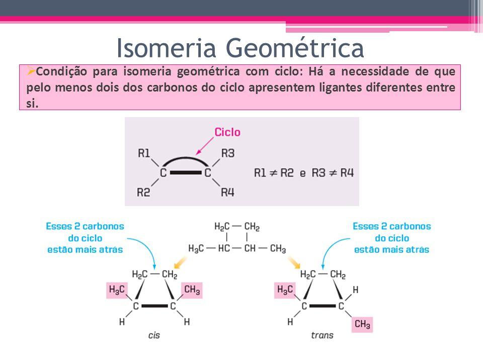 Condição para isomeria geométrica com ciclo: Há a necessidade de que pelo menos dois dos carbonos do ciclo apresentem ligantes diferentes entre si.
