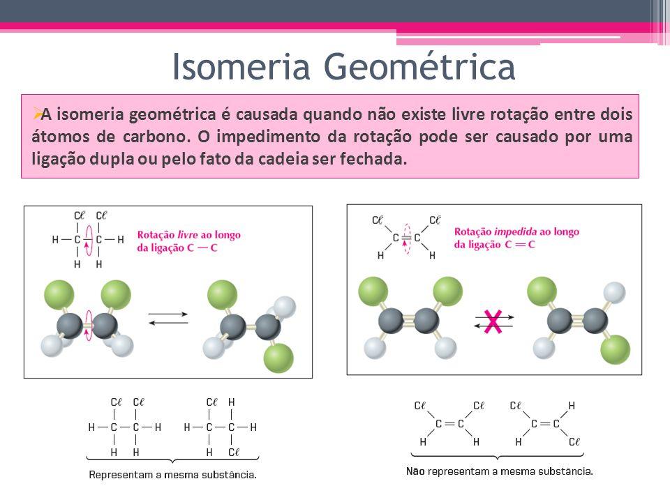 Isomeria Geométrica A isomeria geométrica é causada quando não existe livre rotação entre dois átomos de carbono. O impedimento da rotação pode ser ca