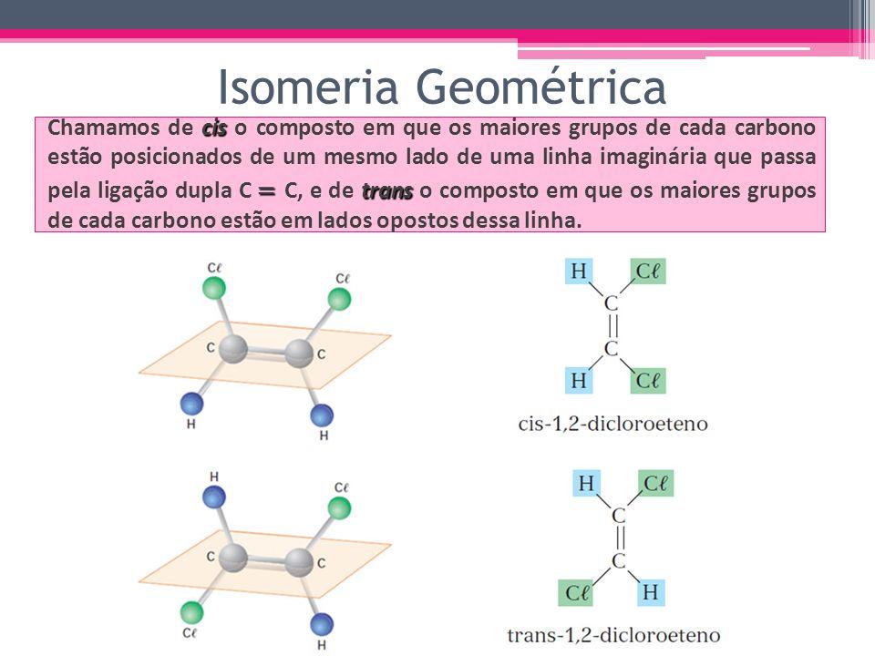 cis trans Chamamos de cis o composto em que os maiores grupos de cada carbono estão posicionados de um mesmo lado de uma linha imaginária que passa pe