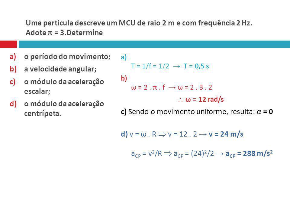 Uma partícula descreve um MCU de raio 2 m e com frequência 2 Hz. Adote π = 3.Determine a)o período do movimento; b)a velocidade angular; c)o módulo da