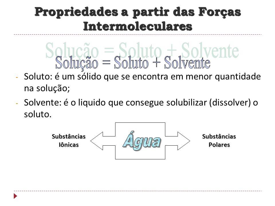 - Soluto: é um sólido que se encontra em menor quantidade na solução; - Solvente: é o liquido que consegue solubilizar (dissolver) o soluto. Substânci