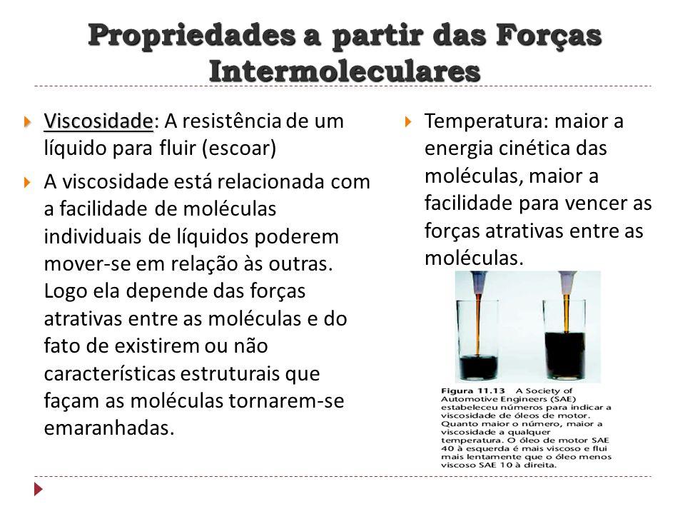 Viscosidade Viscosidade: A resistência de um líquido para fluir (escoar) A viscosidade está relacionada com a facilidade de moléculas individuais de l
