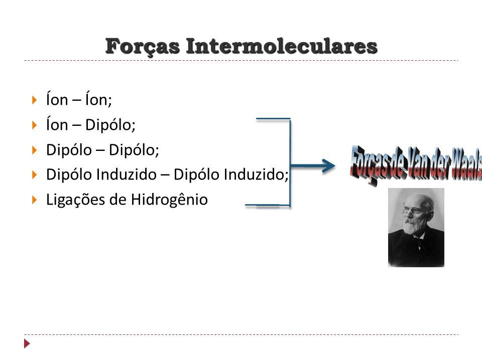Forças Intermoleculares Íon – Íon; Íon – Dipólo; Dipólo – Dipólo; Dipólo Induzido – Dipólo Induzido; Ligações de Hidrogênio