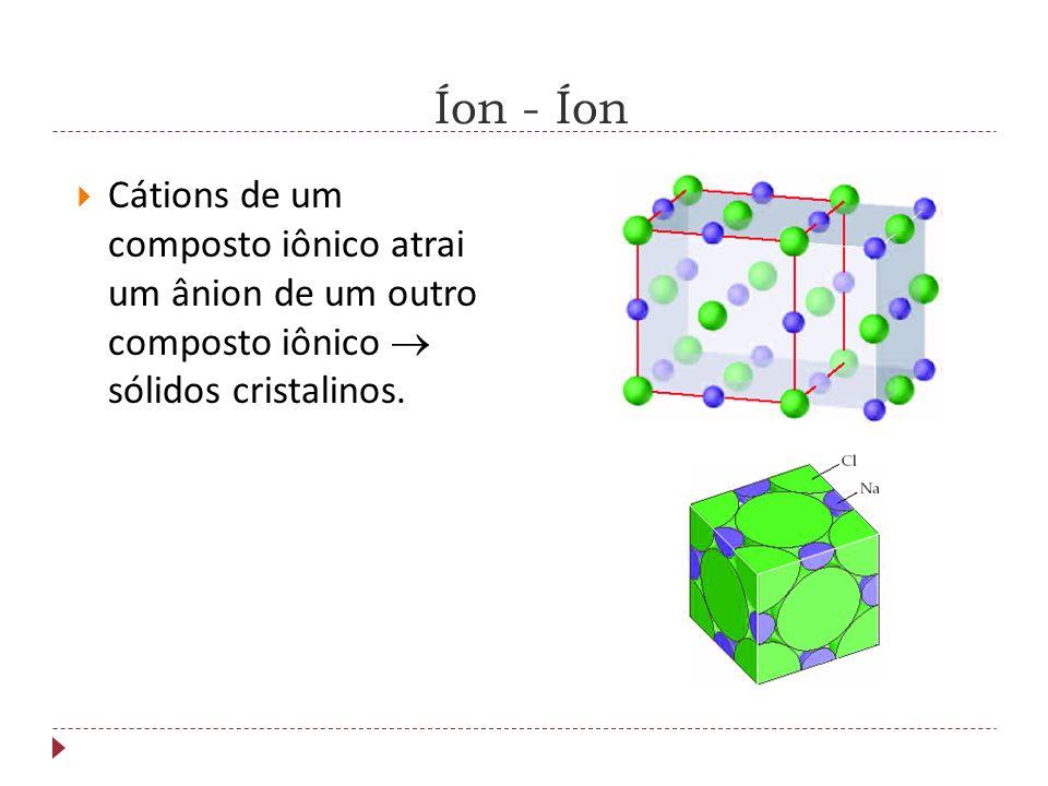 Forças Intermoleculares Íon – Íon Íon – Dipolo Ligação de Hidrogênio Dipólo – Dipólo Forças de London