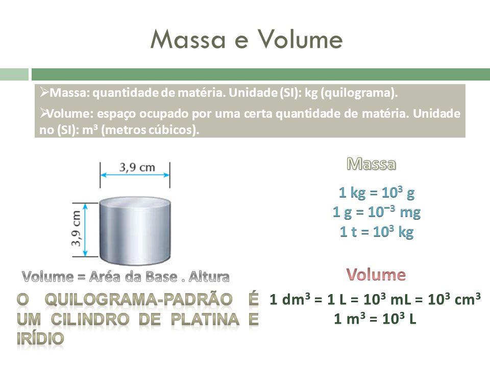 Massa e Volume Massa: quantidade de matéria. Unidade (SI): kg (quilograma). Volume: espaço ocupado por uma certa quantidade de matéria. Unidade no (SI