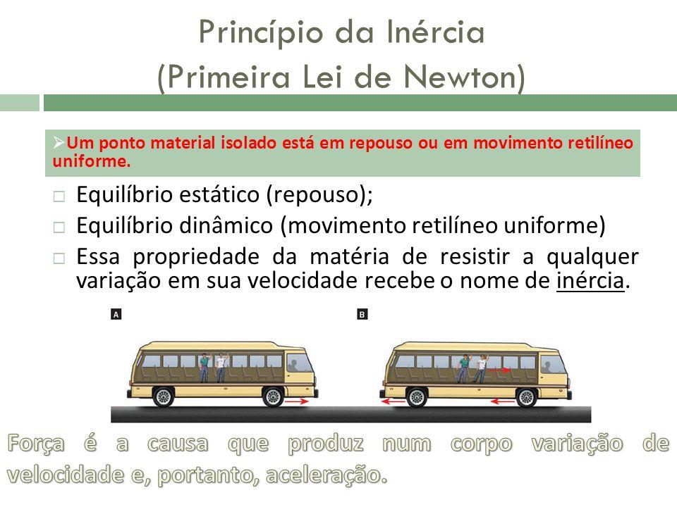 Princípio da Inércia (Primeira Lei de Newton) Equilíbrio estático (repouso); Equilíbrio dinâmico (movimento retilíneo uniforme) Essa propriedade da ma