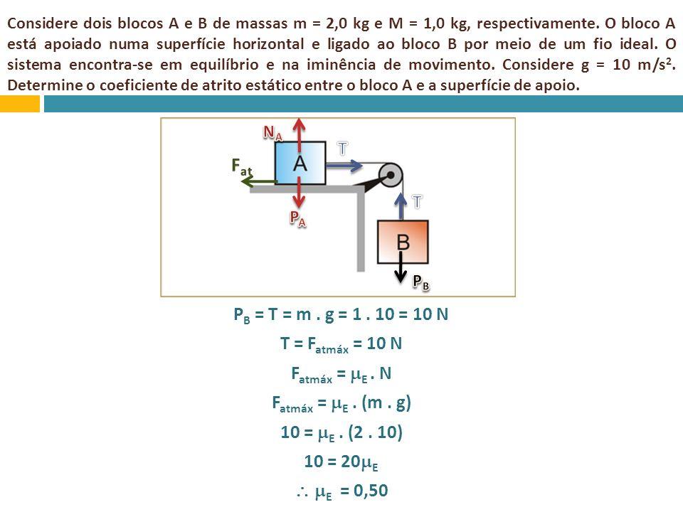 Considere dois blocos A e B de massas m = 2,0 kg e M = 1,0 kg, respectivamente. O bloco A está apoiado numa superfície horizontal e ligado ao bloco B