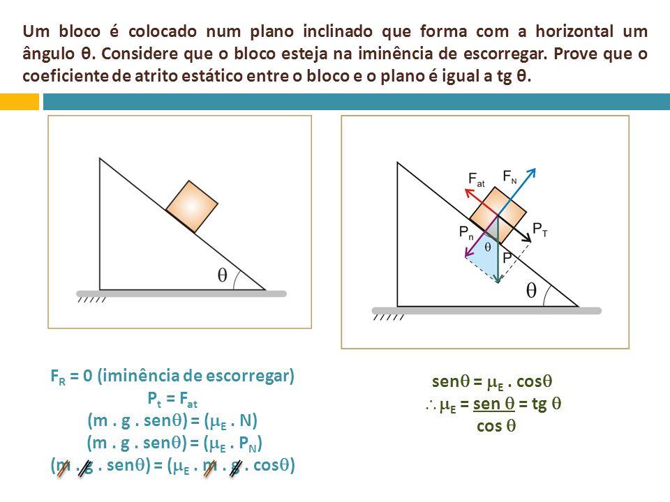 Um bloco é colocado num plano inclinado que forma com a horizontal um ângulo θ. Considere que o bloco esteja na iminência de escorregar. Prove que o c