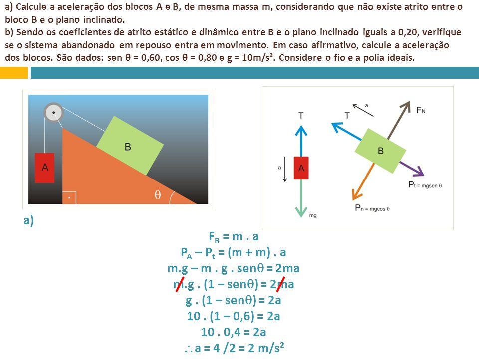 a) Calcule a aceleração dos blocos A e B, de mesma massa m, considerando que não existe atrito entre o bloco B e o plano inclinado. b) Sendo os coefic