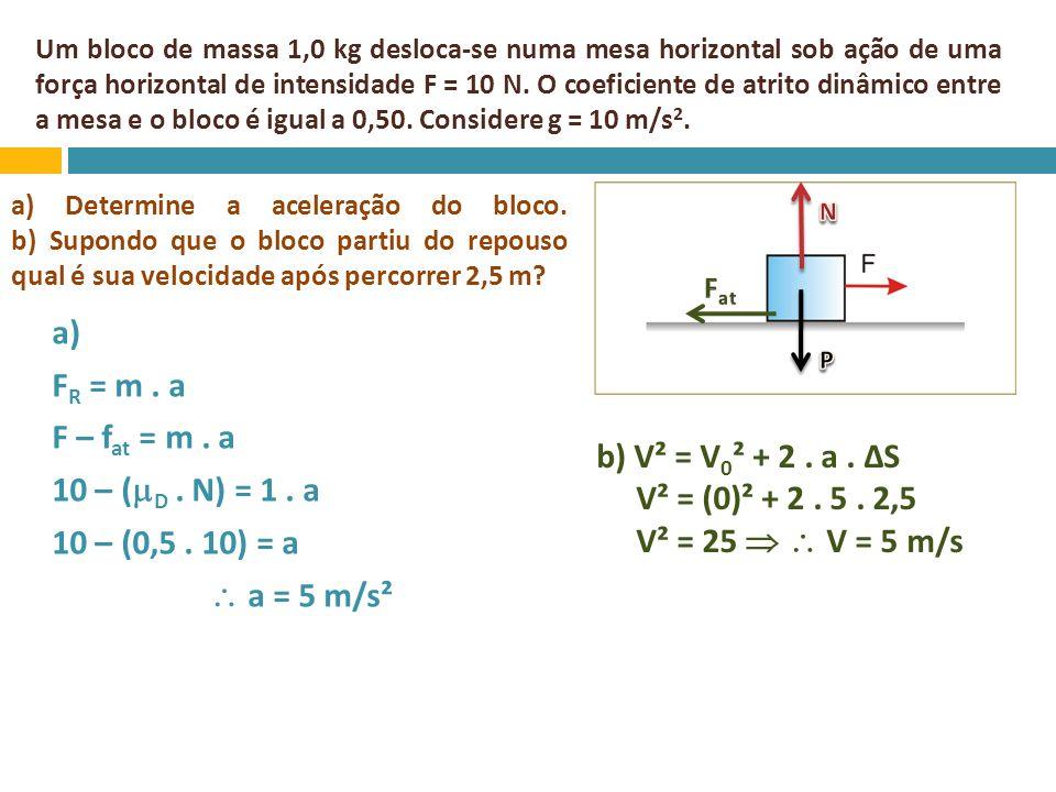 Um bloco de massa 1,0 kg desloca-se numa mesa horizontal sob ação de uma força horizontal de intensidade F = 10 N. O coeficiente de atrito dinâmico en