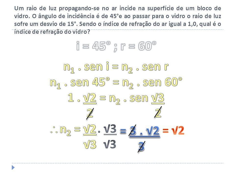 A figura representa um raio de luz monocromática refratando-se do meio A para o meio B.