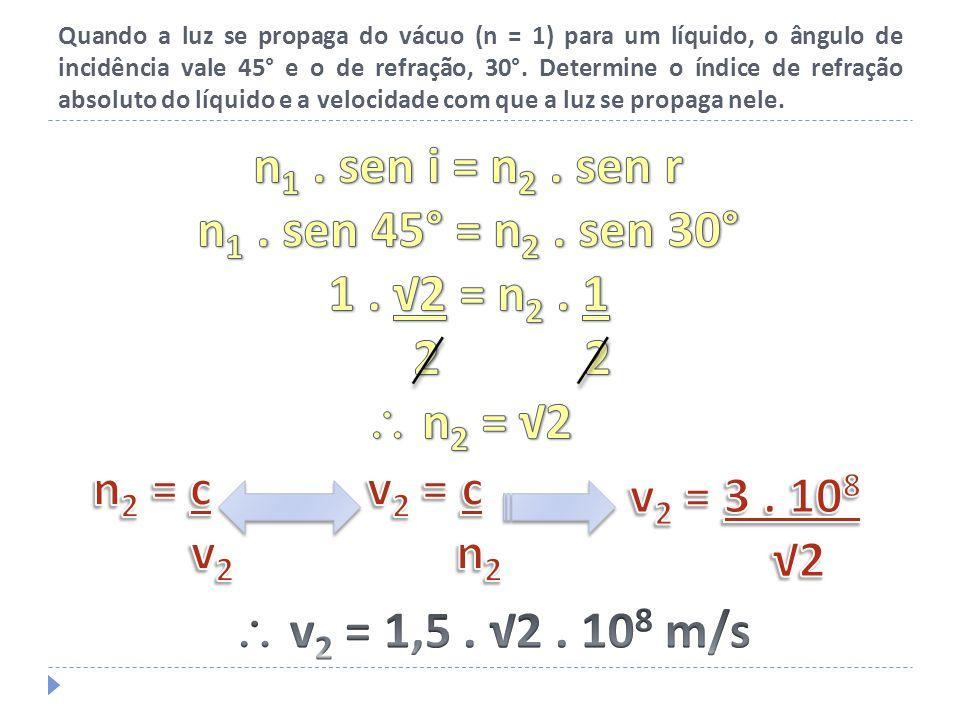Quando a luz se propaga do vácuo (n = 1) para um líquido, o ângulo de incidência vale 45° e o de refração, 30°. Determine o índice de refração absolut
