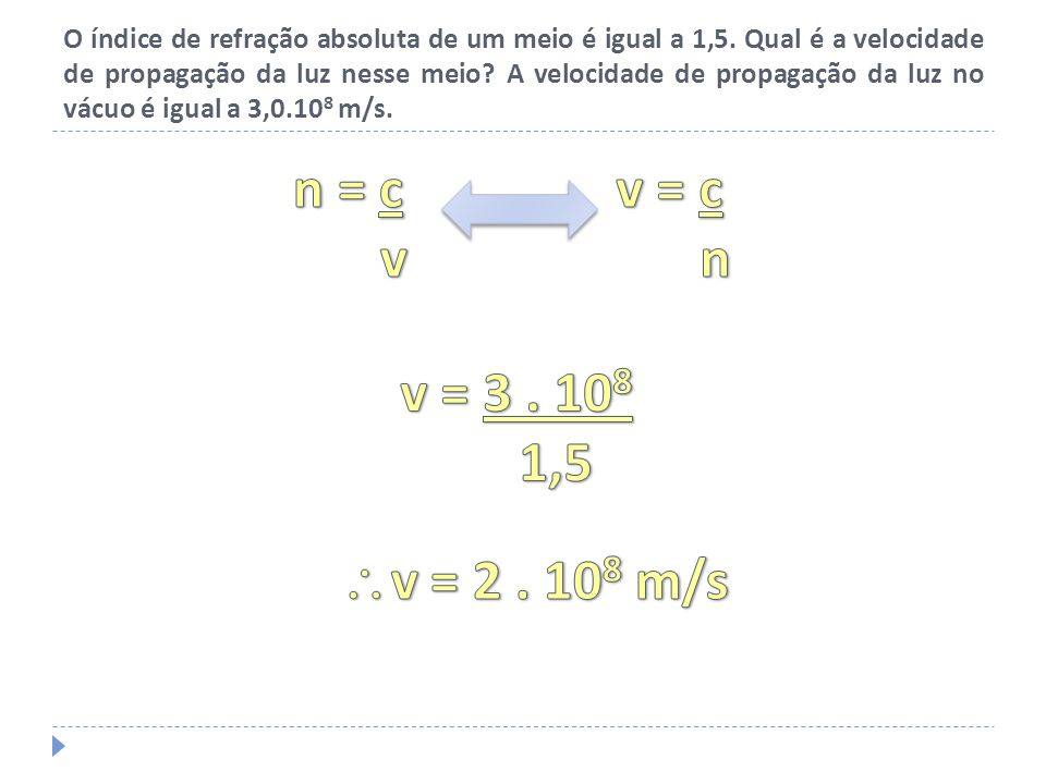 A velocidade de propagação da luz num determinado meio é 2 vezes menor do que a velocidade de propagação da luz no vácuo.