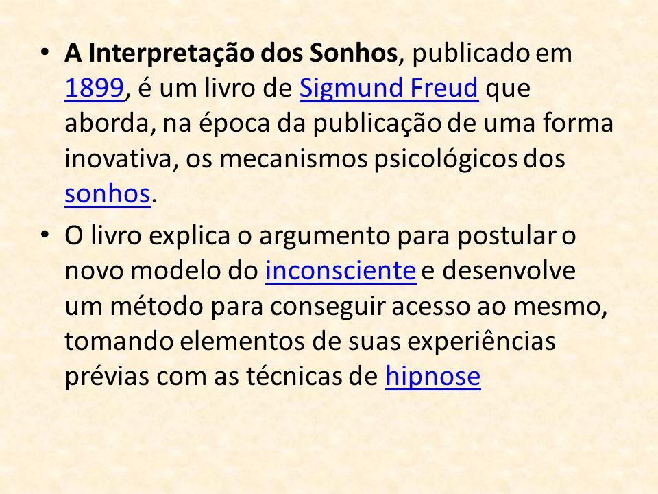 A Interpretação dos Sonhos, publicado em 1899, é um livro de Sigmund Freud que aborda, na época da publicação de uma forma inovativa, os mecanismos ps