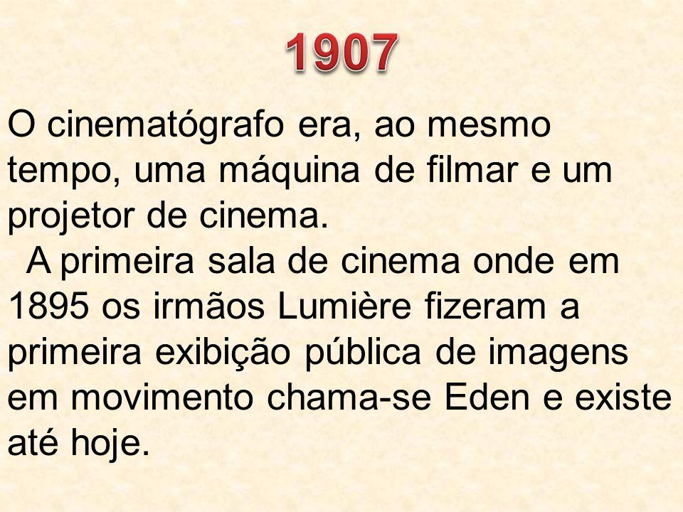 O cinematógrafo era, ao mesmo tempo, uma máquina de filmar e um projetor de cinema. A primeira sala de cinema onde em 1895 os irmãos Lumière fizeram a