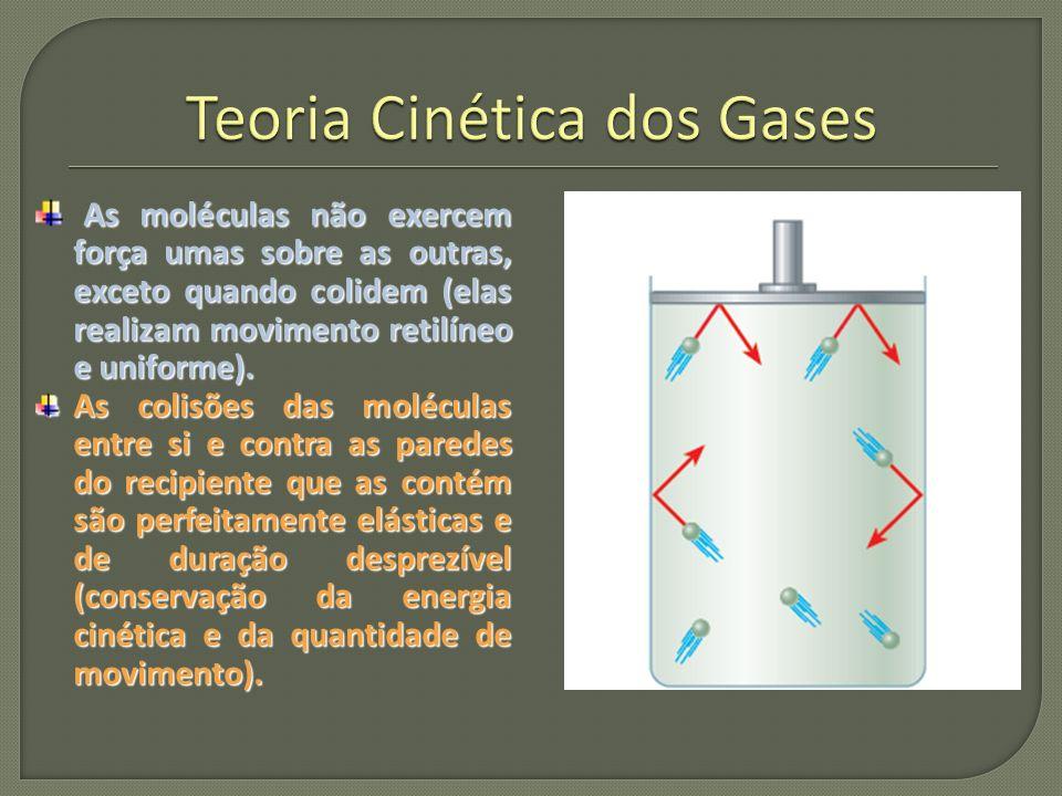 As moléculas têm dimensões desprezíveis em comparação aos espaços vazios entre elas (o volume do gás é o volume do espaço entre as moléculas, que corresponde ao volume do recipiente onde o gás se encontra).