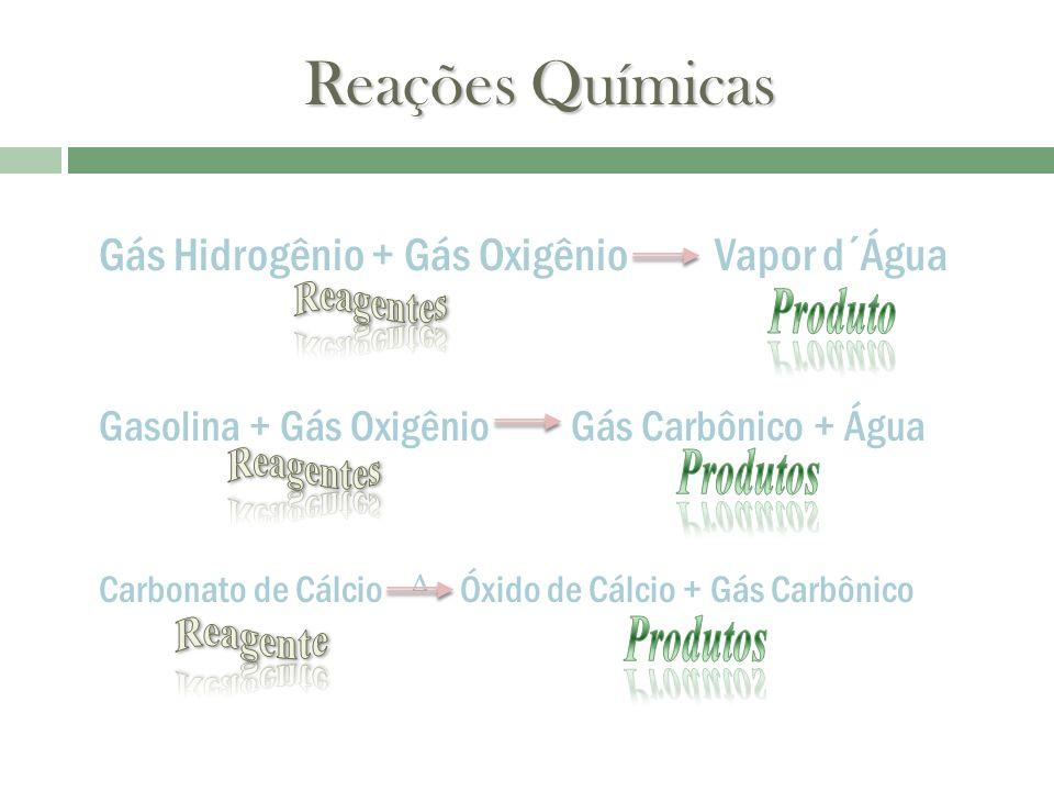 Reações Químicas Gás Hidrogênio + Gás Oxigênio Vapor d´Água Gasolina + Gás Oxigênio Gás Carbônico + Água Carbonato de Cálcio Óxido de Cálcio + Gás Car