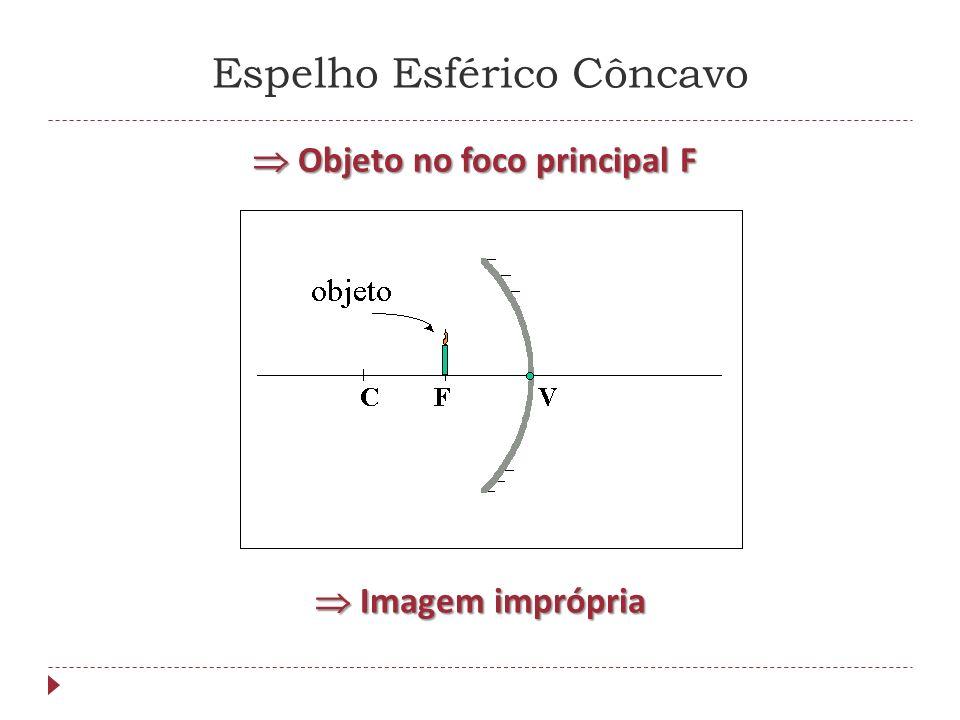Espelho Esférico Côncavo Objeto entre o foco principal F e o vértice V Objeto entre o foco principal F e o vértice V Imagem virtual, direita e maior que o objeto Imagem virtual, direita e maior que o objeto