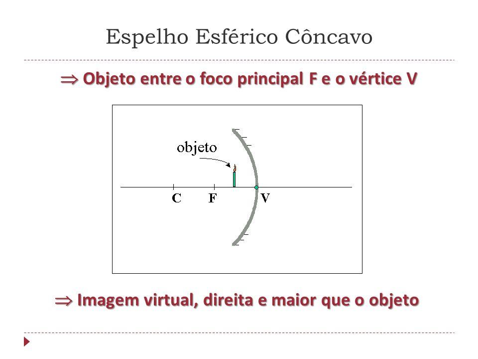 Espelho Esférico Convexo Imagem virtual, direita e menor que o objeto