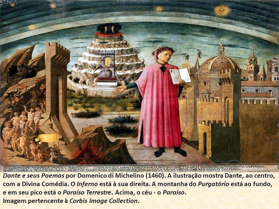 Dante e seus Poemas por Domenico di Michelino (1460). A ilustração mostra Dante, ao centro, com a Divina Comédia. O Inferno está à sua direita. A mont