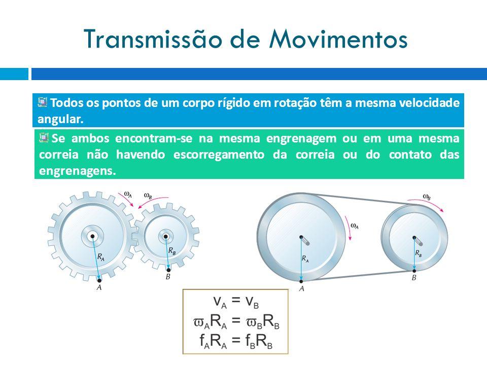 Transmissão de Movimentos Todos os pontos de um corpo rígido em rotação têm a mesma velocidade angular. Se ambos encontram-se na mesma engrenagem ou e