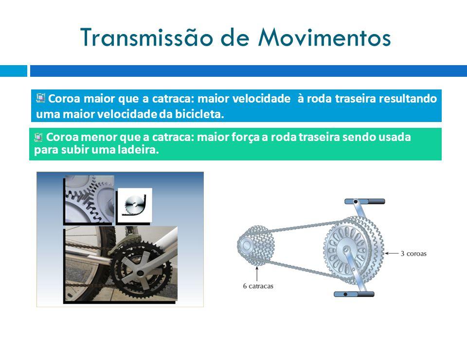 Transmissão de Movimentos Coroa maior que a catraca: maior velocidade à roda traseira resultando uma maior velocidade da bicicleta. Coroa menor que a