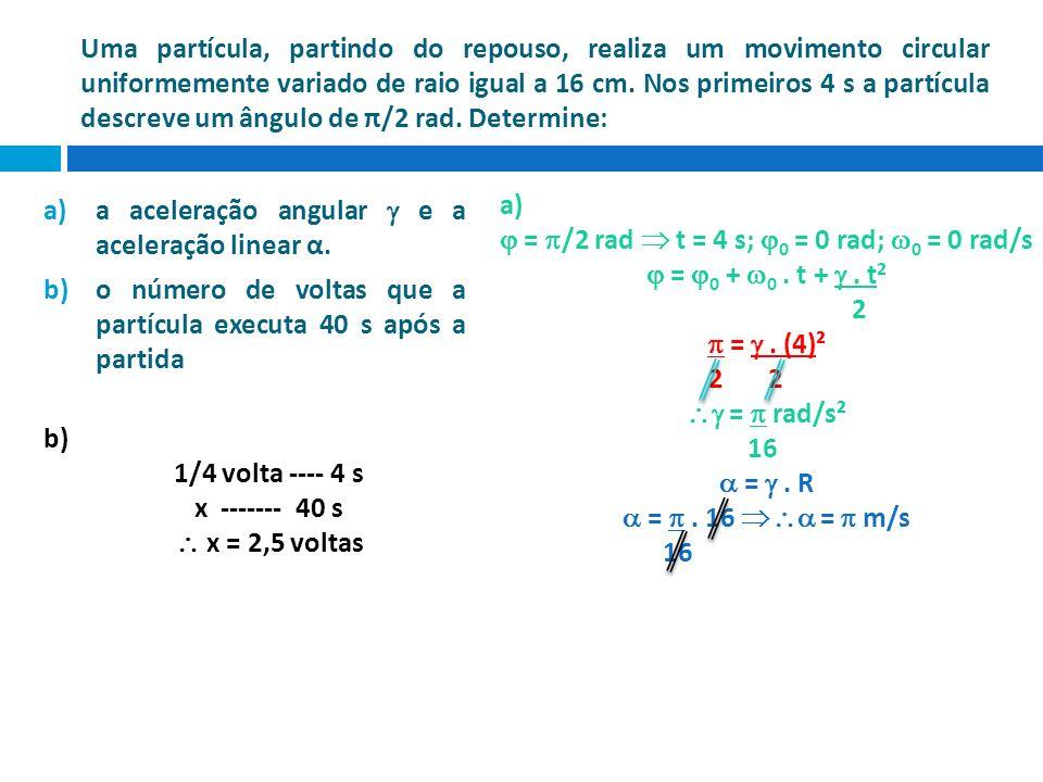 Uma partícula, partindo do repouso, realiza um movimento circular uniformemente variado de raio igual a 16 cm. Nos primeiros 4 s a partícula descreve